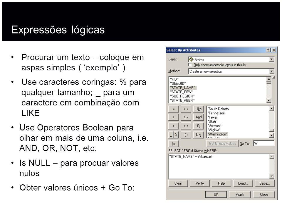 Expressões lógicasProcurar um texto – coloque em aspas simples ( 'exemplo' )