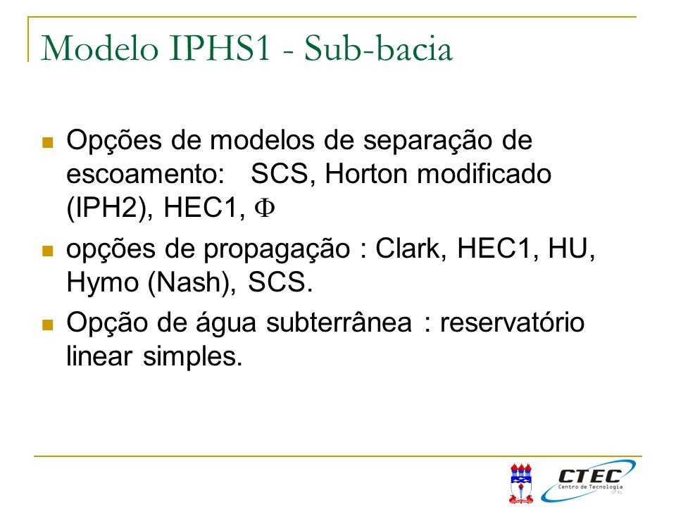 Modelo IPHS1 - Sub-bacia