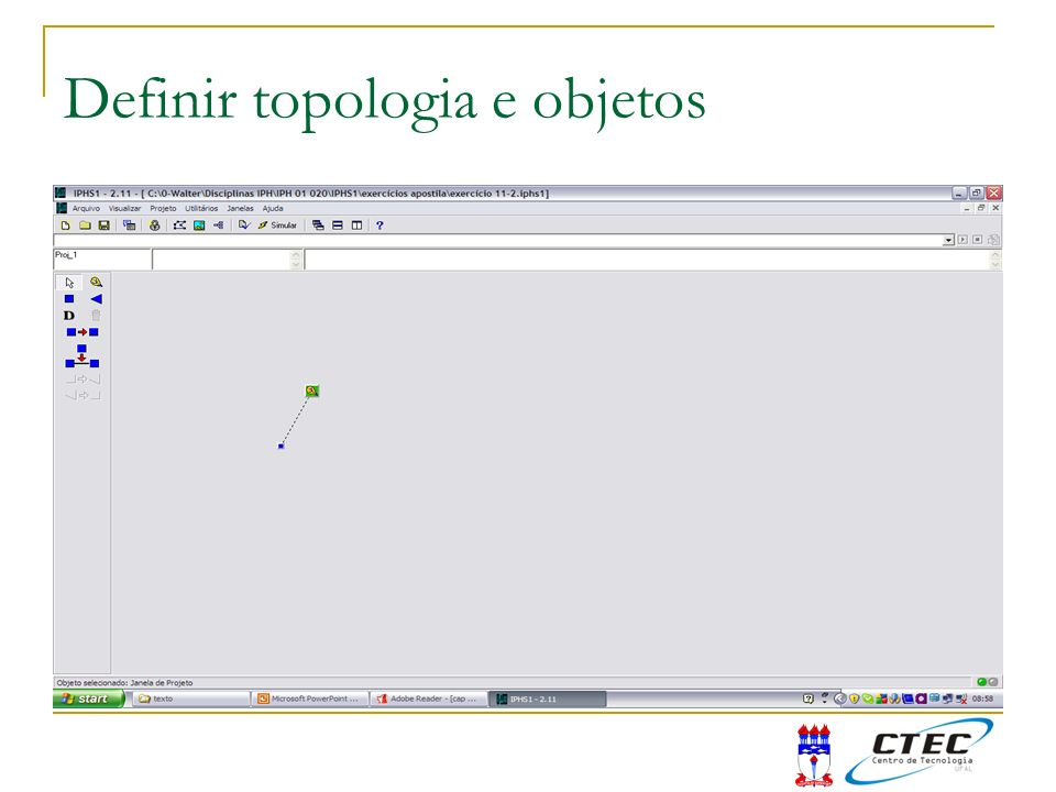 Definir topologia e objetos