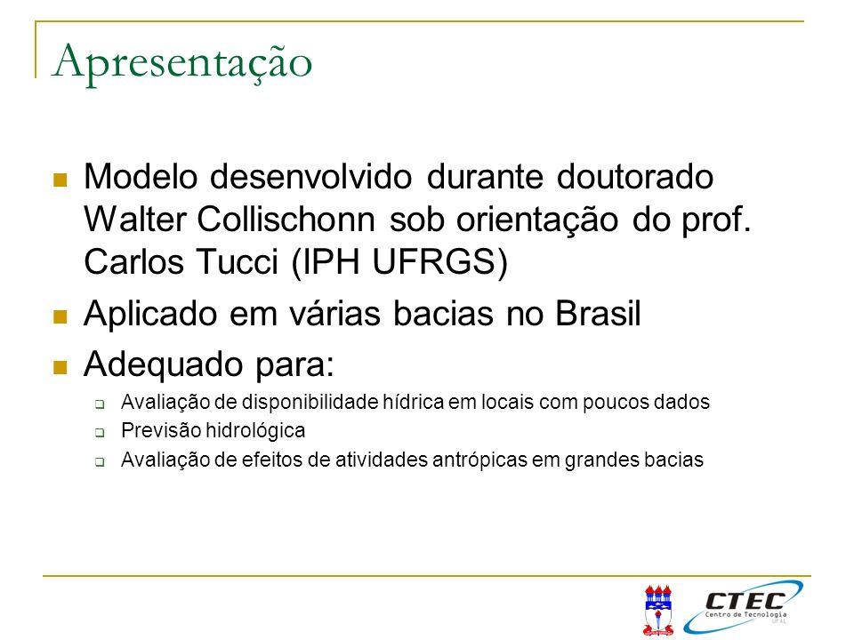 ApresentaçãoModelo desenvolvido durante doutorado Walter Collischonn sob orientação do prof. Carlos Tucci (IPH UFRGS)