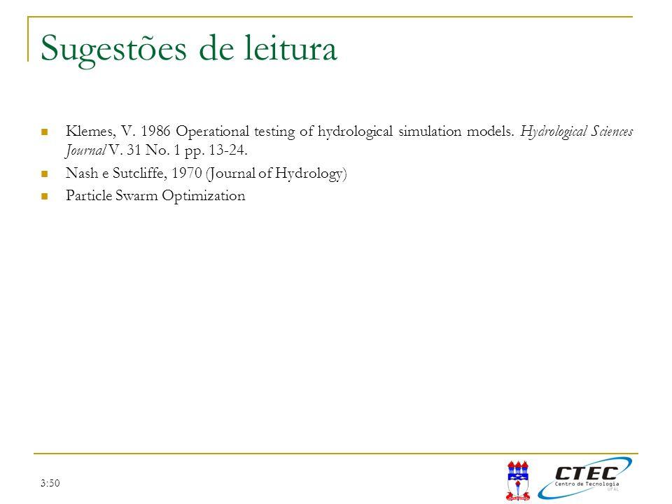 Sugestões de leituraKlemes, V. 1986 Operational testing of hydrological simulation models. Hydrological Sciences Journal V. 31 No. 1 pp. 13-24.