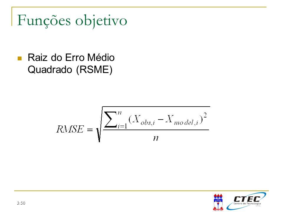 Funções objetivo Raiz do Erro Médio Quadrado (RSME) 3:50
