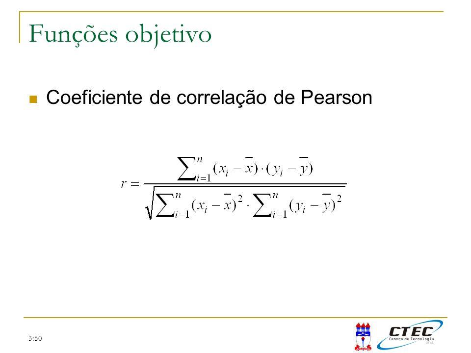 Funções objetivo Coeficiente de correlação de Pearson 3:50