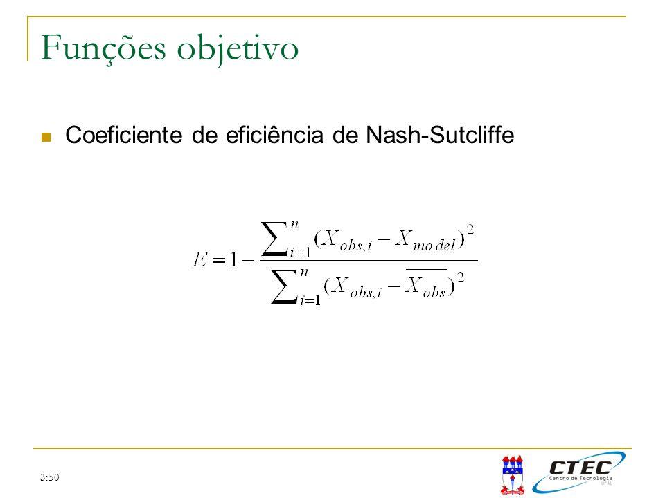 Funções objetivo Coeficiente de eficiência de Nash-Sutcliffe 3:50