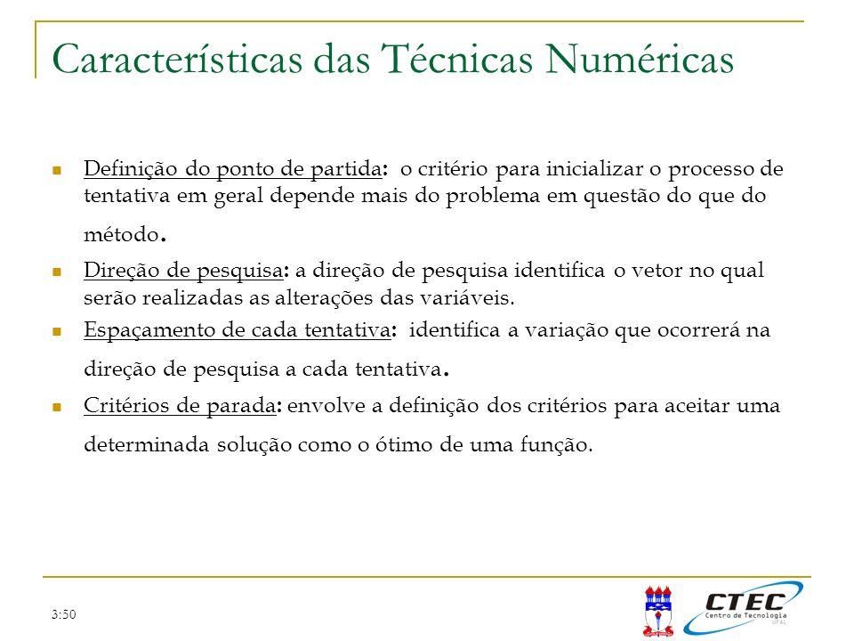 Características das Técnicas Numéricas