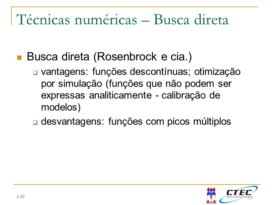 Técnicas numéricas – Busca direta