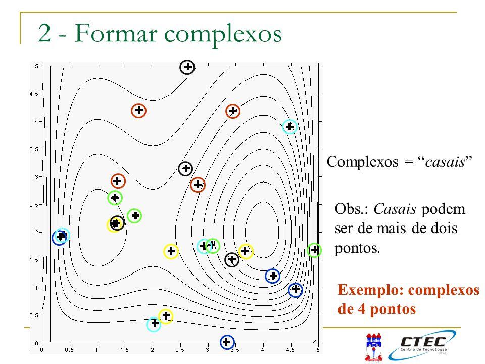 2 - Formar complexos Complexos = casais Obs.: Casais podem