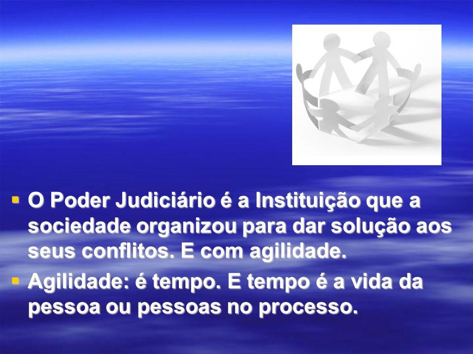 O Poder Judiciário é a Instituição que a sociedade organizou para dar solução aos seus conflitos. E com agilidade.