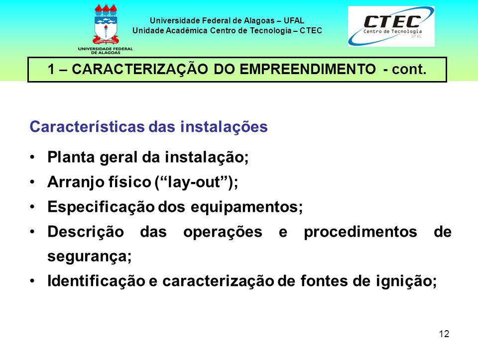 Características das instalações Planta geral da instalação;