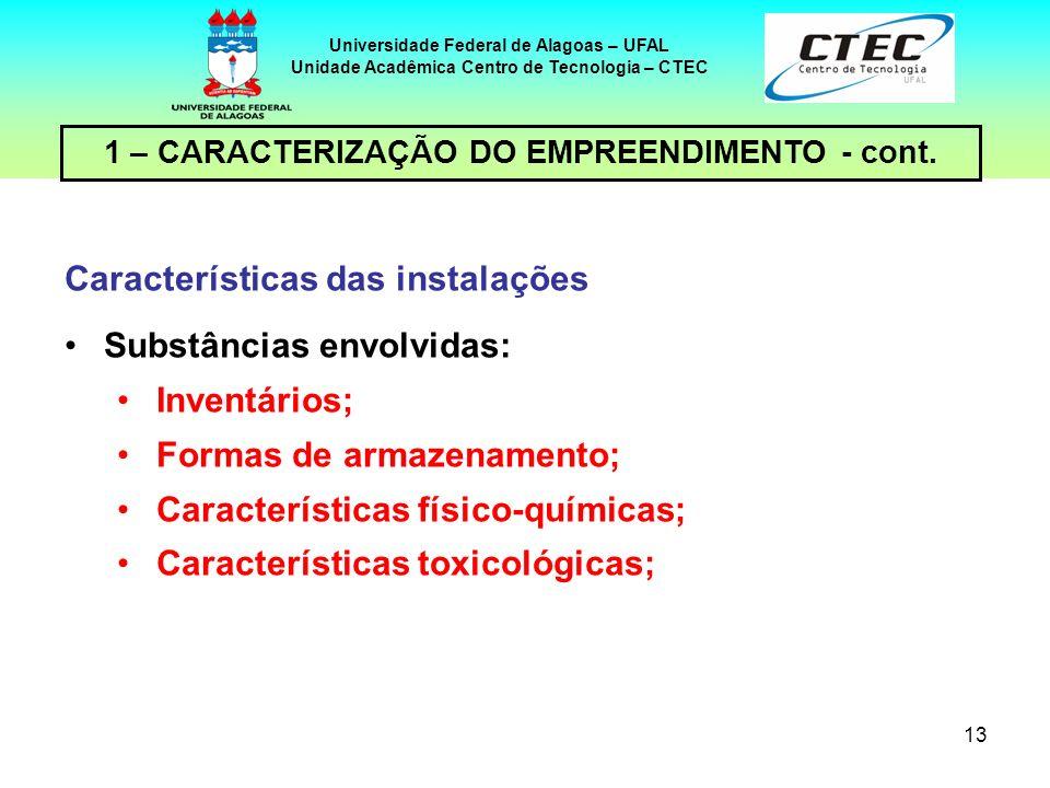 Características das instalações Substâncias envolvidas: Inventários;