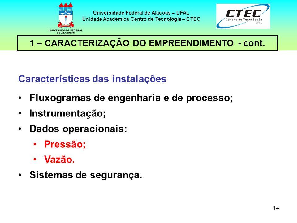 Características das instalações