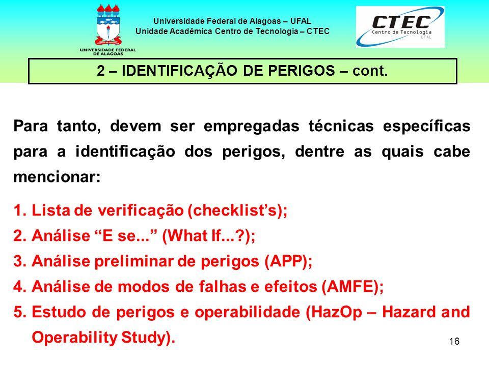 Lista de verificação (checklist's); Análise E se... (What If... );