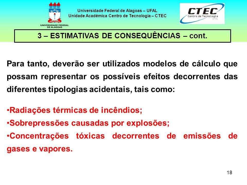 Radiações térmicas de incêndios; Sobrepressões causadas por explosões;