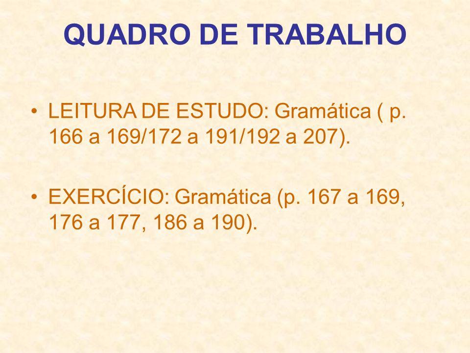QUADRO DE TRABALHO LEITURA DE ESTUDO: Gramática ( p.