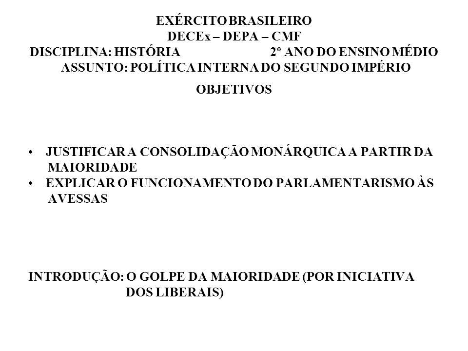 EXÉRCITO BRASILEIRO DECEx – DEPA – CMF DISCIPLINA: HISTÓRIA 2º ANO DO ENSINO MÉDIO ASSUNTO: POLÍTICA INTERNA DO SEGUNDO IMPÉRIO