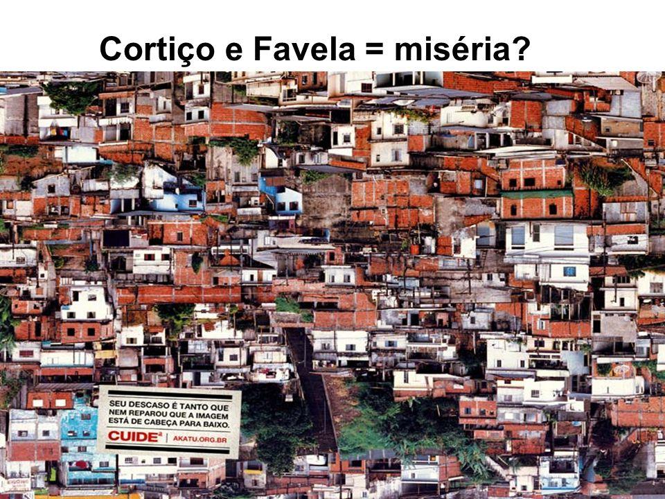 Cortiço e Favela = miséria