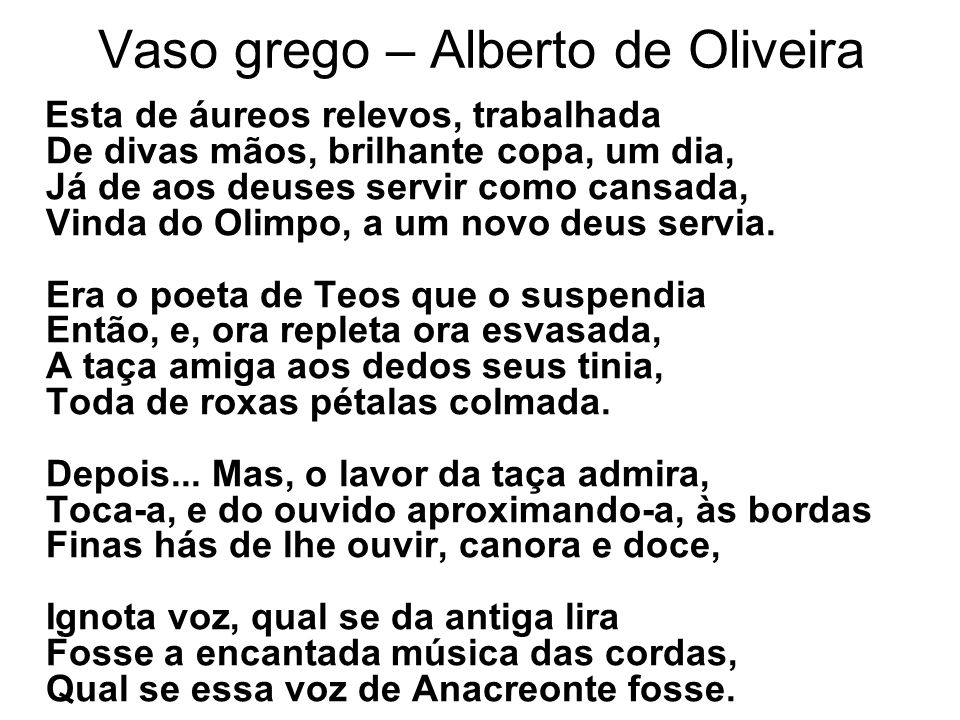 Vaso grego – Alberto de Oliveira