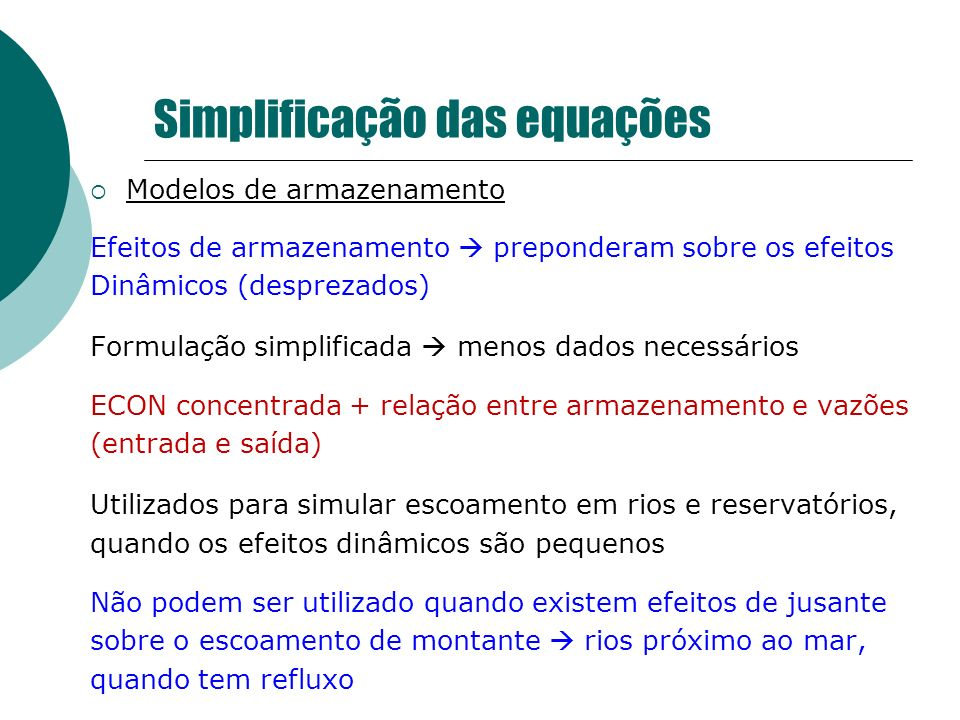 Simplificação das equações