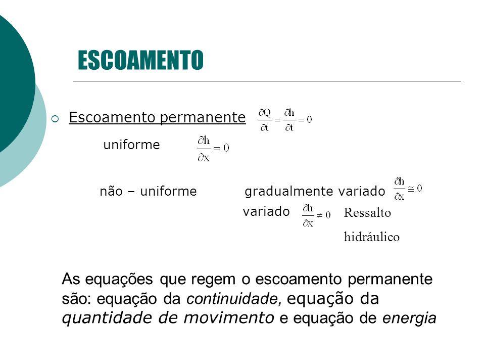 ESCOAMENTOEscoamento permanente. uniforme. não – uniforme gradualmente variado. variado. Ressalto. hidráulico.