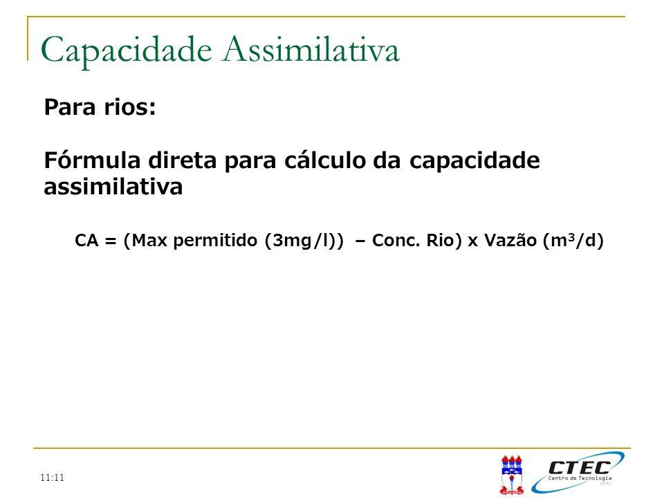 CA = (Max permitido (3mg/l)) – Conc. Rio) x Vazão (m3/d)