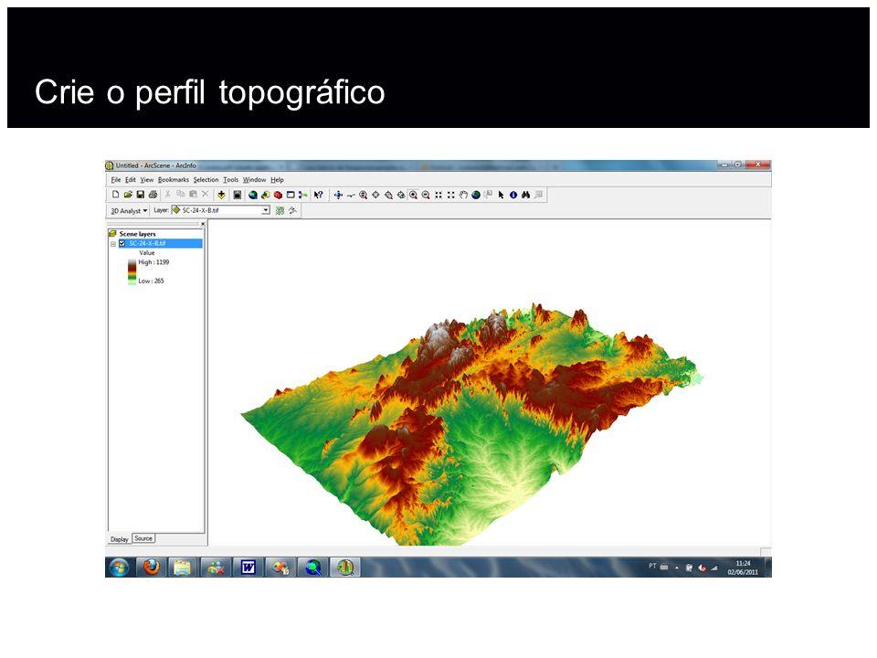Crie o perfil topográfico