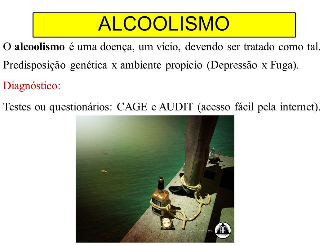 ALCOOLISMO O alcoolismo é uma doença, um vício, devendo ser tratado como tal. Predisposição genética x ambiente propício (Depressão x Fuga).