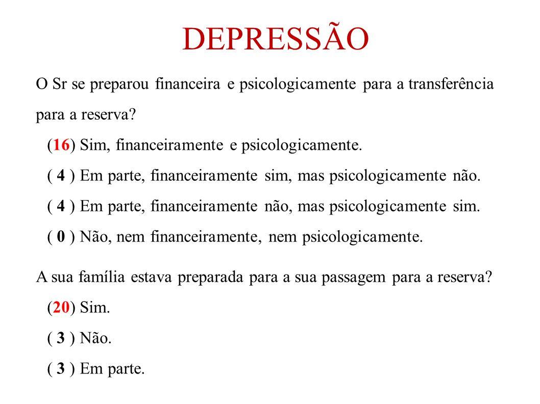DEPRESSÃO O Sr se preparou financeira e psicologicamente para a transferência para a reserva (16) Sim, financeiramente e psicologicamente.