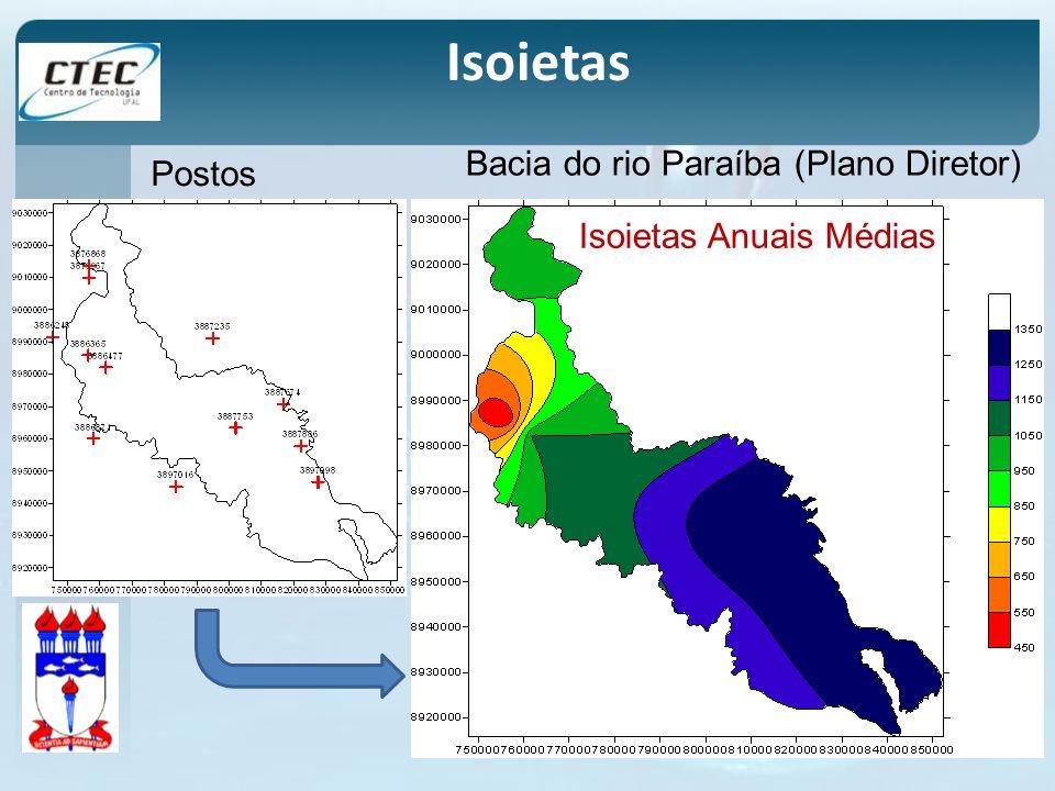 Isoietas Bacia do rio Paraíba (Plano Diretor) Postos