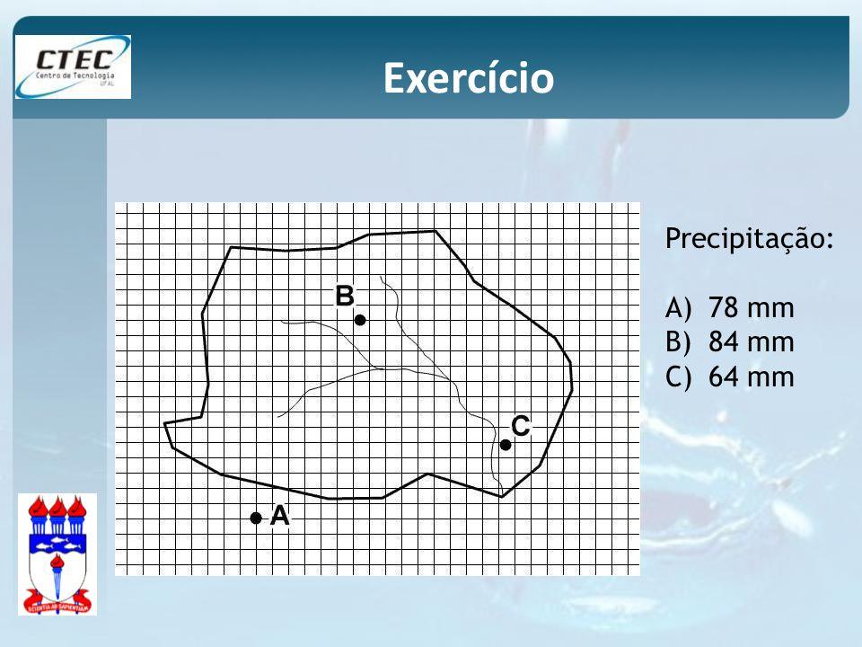 Exercício Precipitação: 78 mm 84 mm 64 mm