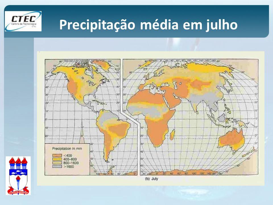 Precipitação média em julho