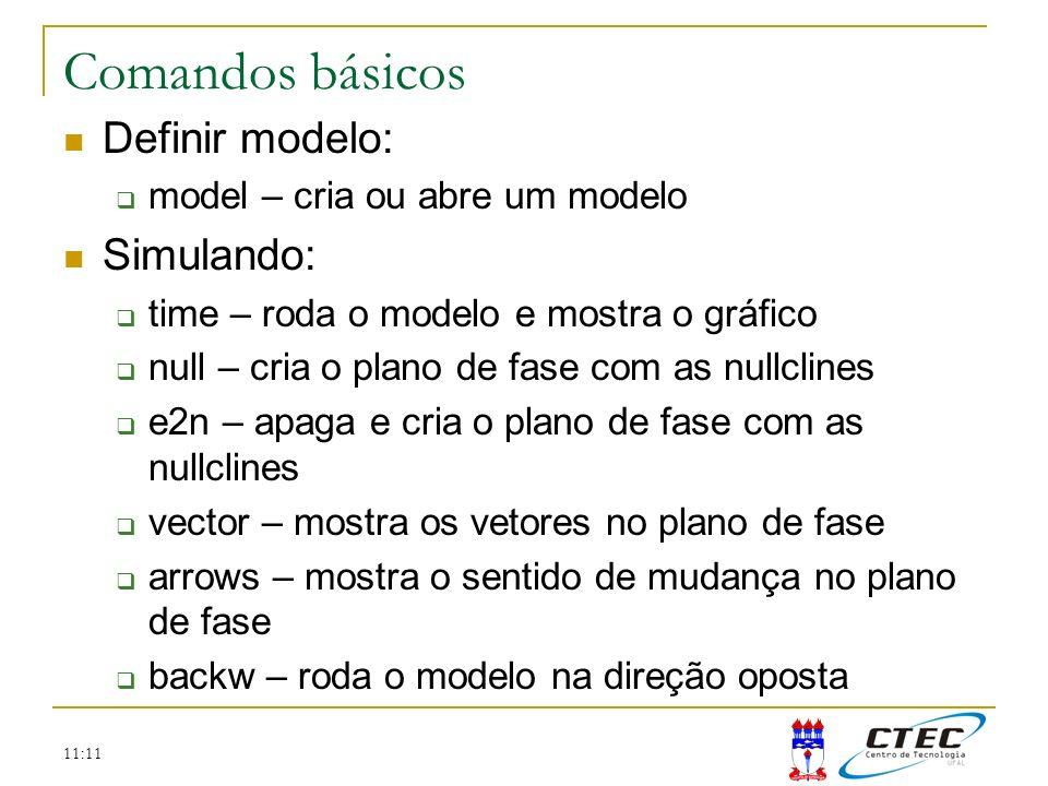 Comandos básicos Definir modelo: Simulando:
