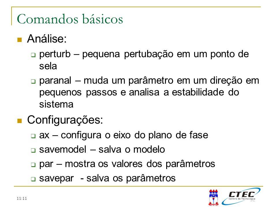 Comandos básicos Análise: Configurações:
