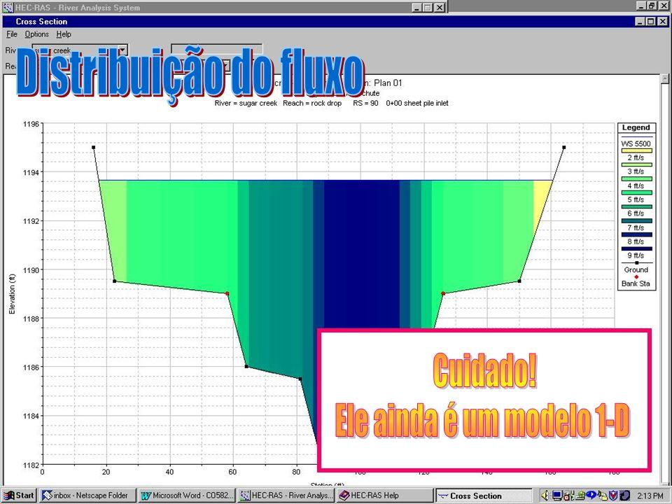Distribuição do fluxo Cuidado! Ele ainda é um modelo 1-D