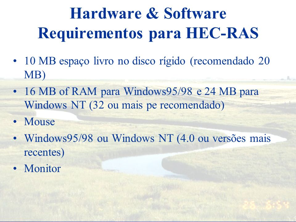 Hardware & Software Requirementos para HEC-RAS