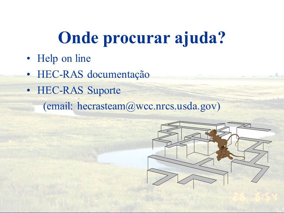 Onde procurar ajuda Help on line HEC-RAS documentação HEC-RAS Suporte
