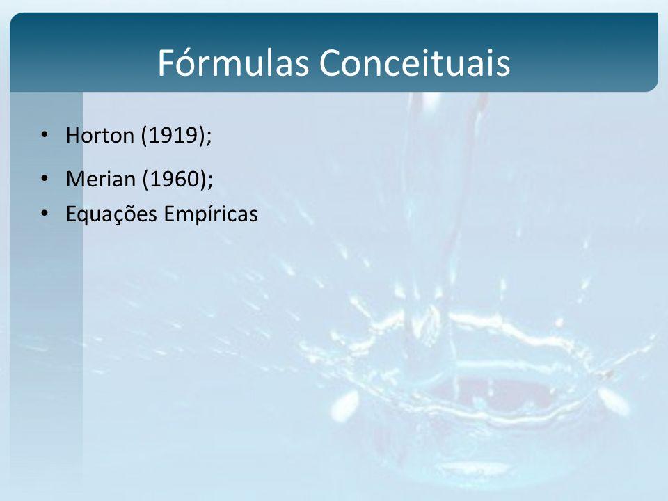 Fórmulas Conceituais Horton (1919); Merian (1960); Equações Empíricas