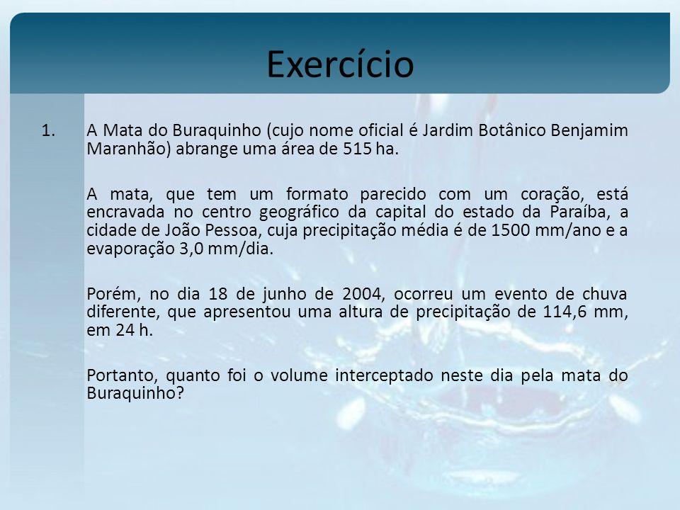 Exercício A Mata do Buraquinho (cujo nome oficial é Jardim Botânico Benjamim Maranhão) abrange uma área de 515 ha.