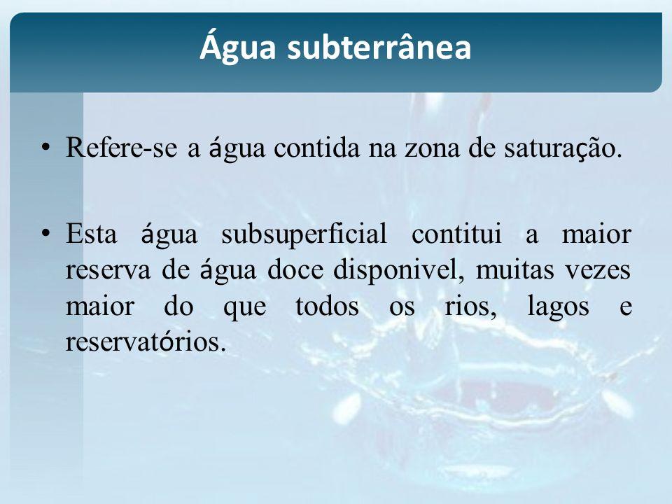 Água subterrânea Refere-se a água contida na zona de saturação.