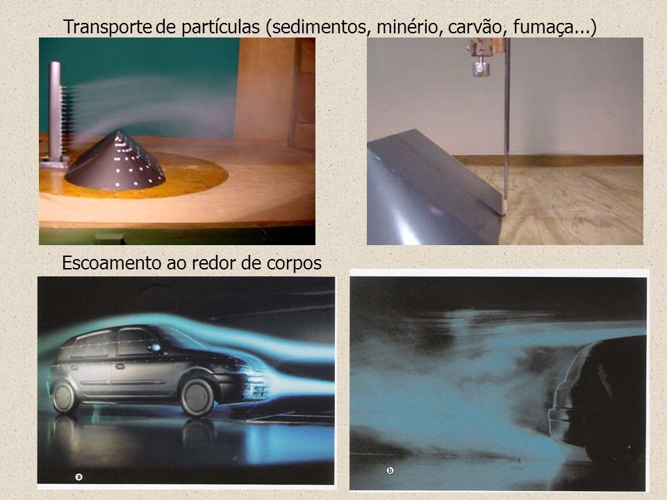 Transporte de partículas (sedimentos, minério, carvão, fumaça...)