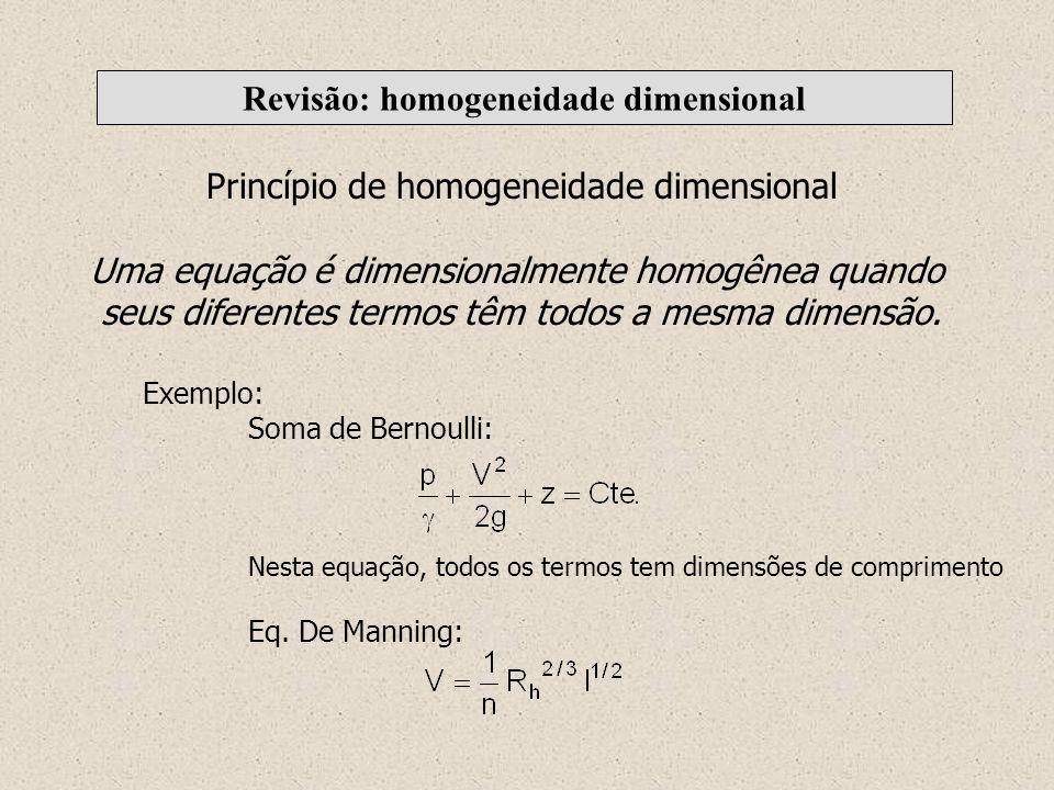 Revisão: homogeneidade dimensional