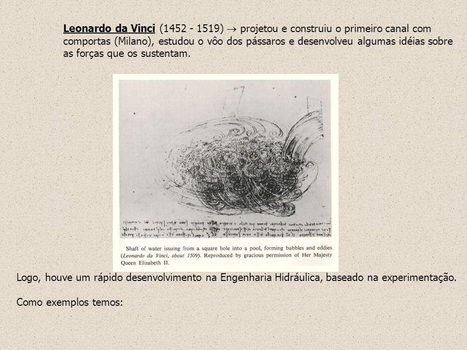 Leonardo da Vinci (1452 - 1519)  projetou e construiu o primeiro canal com comportas (Milano), estudou o vôo dos pássaros e desenvolveu algumas idéias sobre as forças que os sustentam.