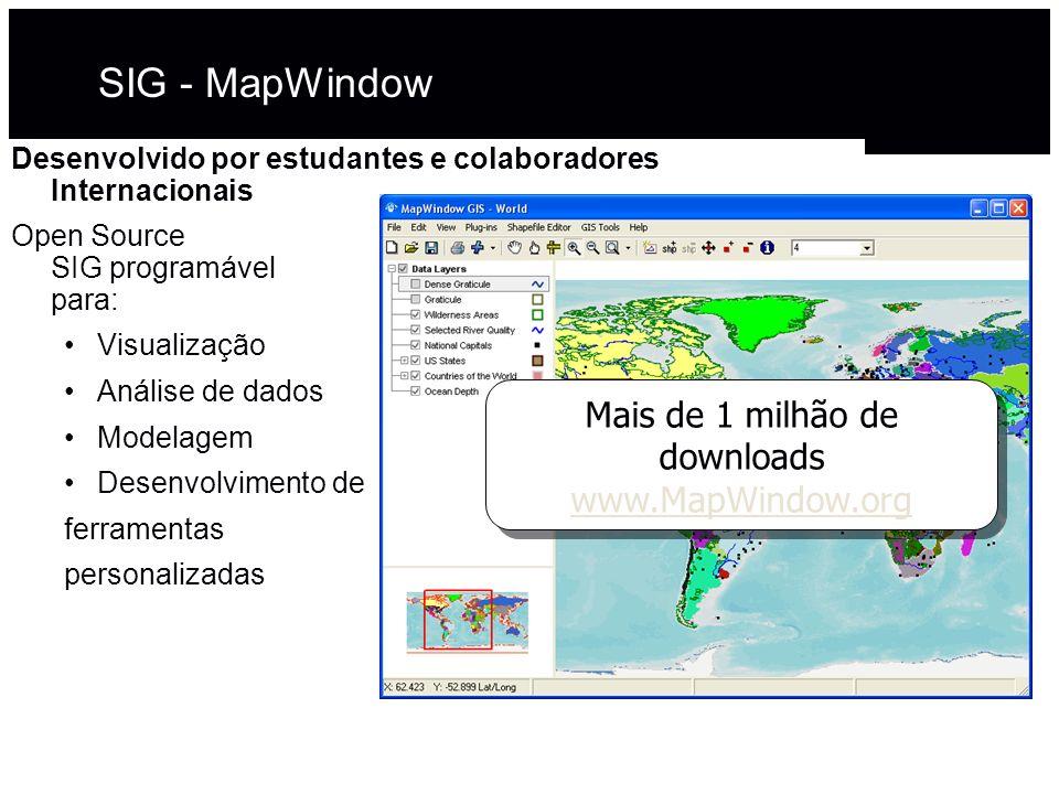 Mais de 1 milhão de downloads www.MapWindow.org