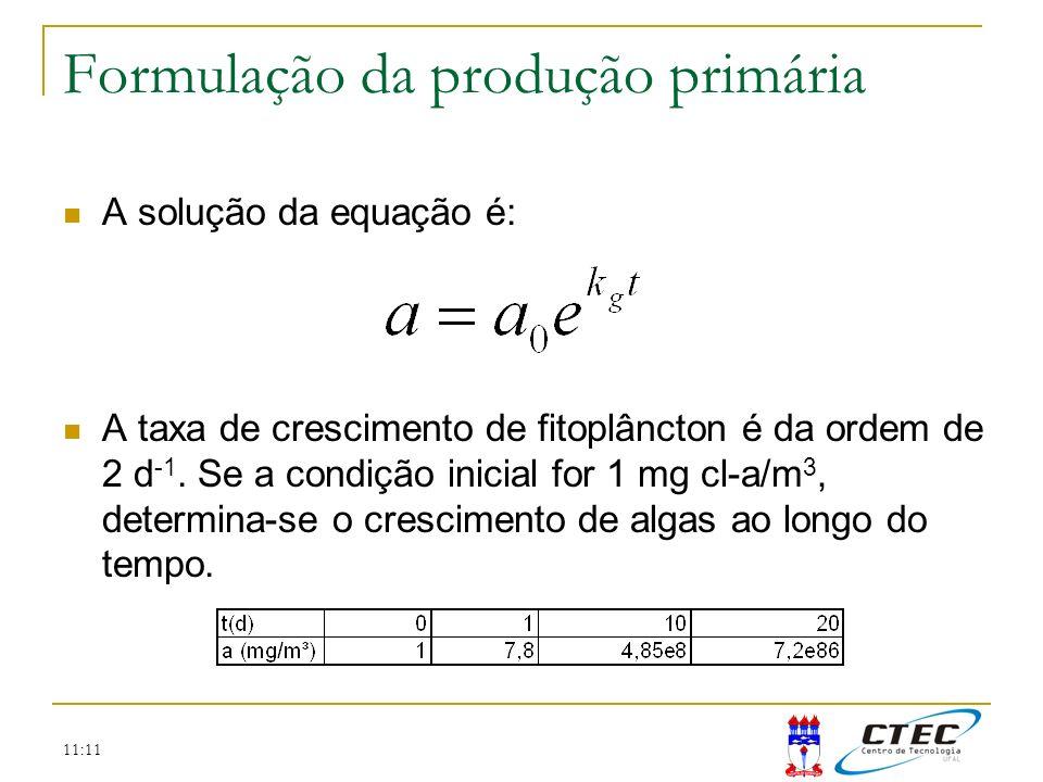 Formulação da produção primária
