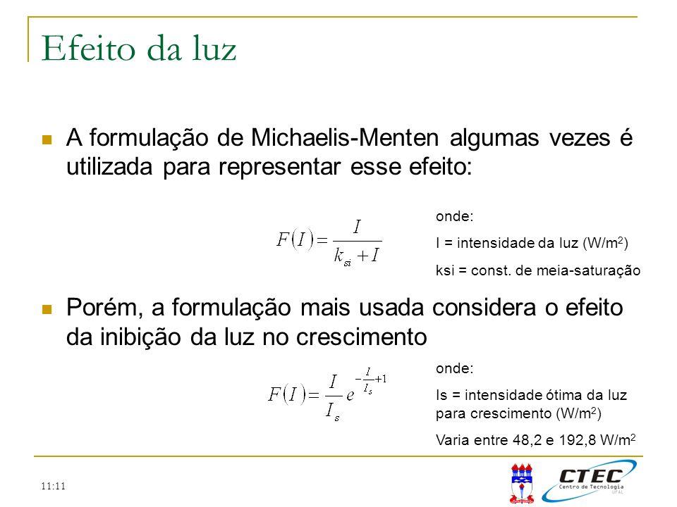 Efeito da luz A formulação de Michaelis-Menten algumas vezes é utilizada para representar esse efeito: