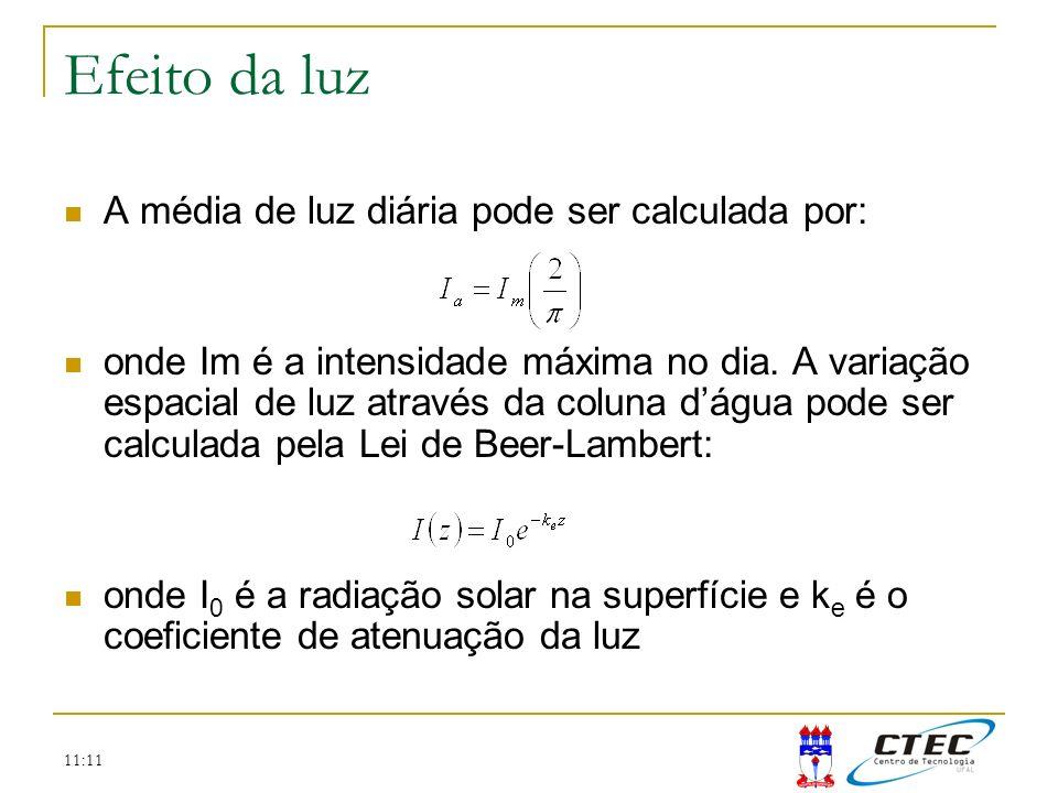 Efeito da luz A média de luz diária pode ser calculada por: