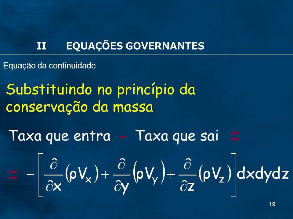 - = = Substituindo no princípio da conservação da massa Taxa que entra