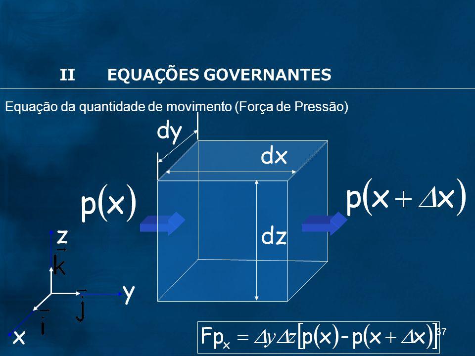 dy dx z dz y x II EQUAÇÕES GOVERNANTES