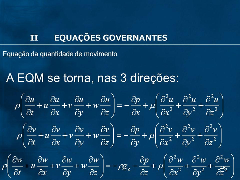A EQM se torna, nas 3 direções: