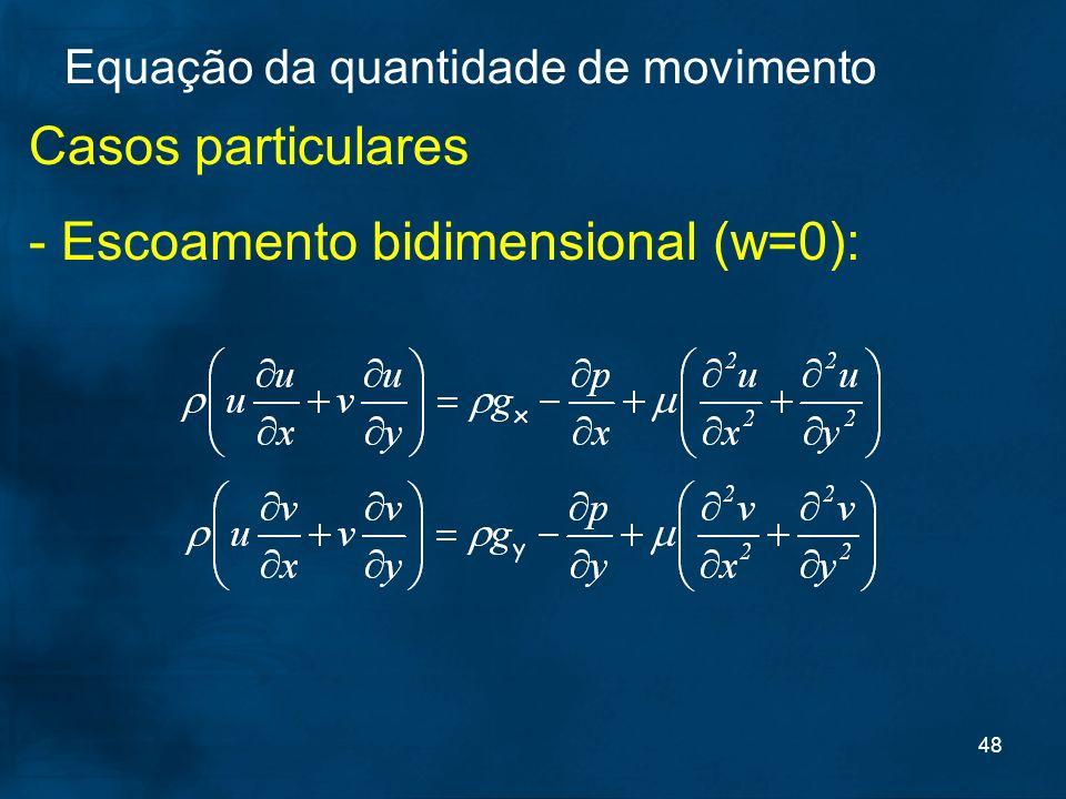 - Escoamento bidimensional (w=0):