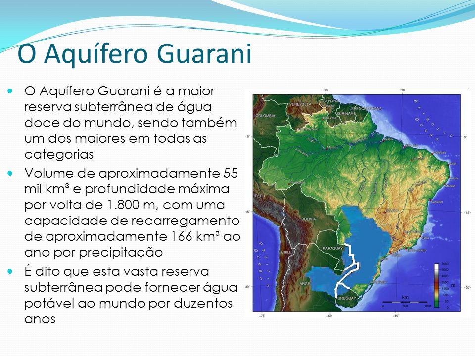O Aquífero Guarani O Aquífero Guarani é a maior reserva subterrânea de água doce do mundo, sendo também um dos maiores em todas as categorias.